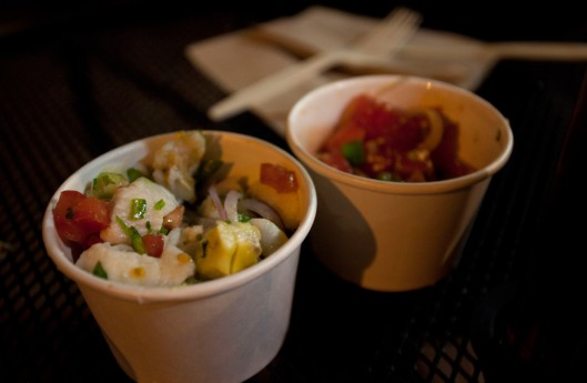 Scallops and fish ceviche (left) and Pier 76 ahi poke (right)