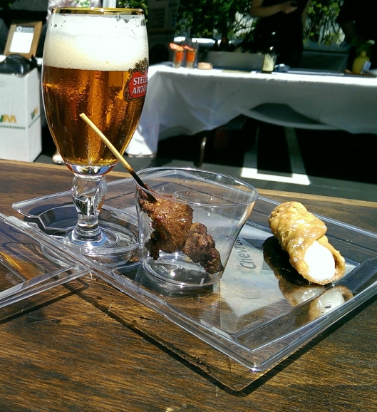 Circa's beef tenderloin skewer paired with Angel City IPA  and a cannoli from Grimaldi's Pizzeria