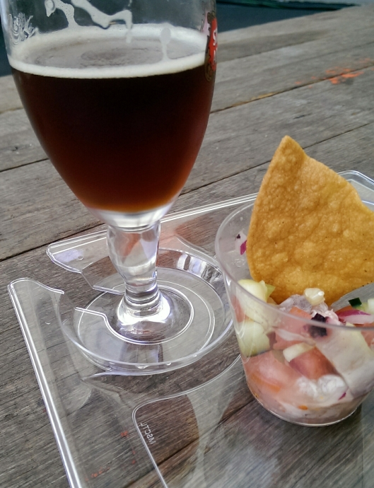 The Kolschtal Eddy brown ale from The Dude's Brewing Company paired with aguachiles ceviche from Coni'Seafood