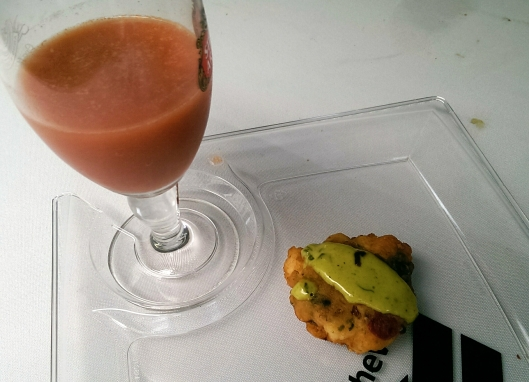 The Bruery's Belgium style strawberry sour with panfried fish cake and citrus aioli from Simmzy's