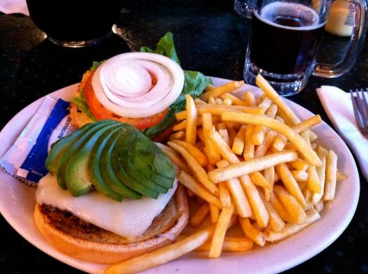 Avocado and Swiss cheese burger