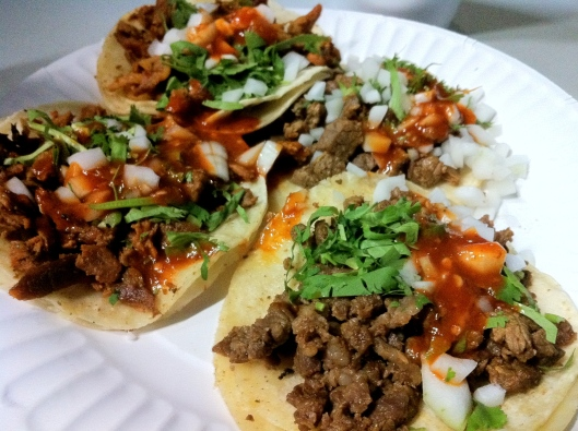 My boyfriend's al pastor and carne asada tacos (because all the salsas I put on mine made a mess of it)